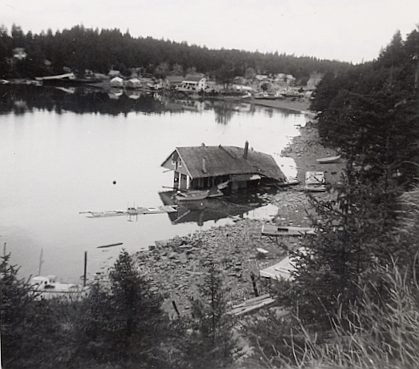 Ouzinkie harbor after 1964 earthquake and tsunami